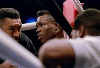 8 May 1993: Meldrick Taylor sits in the corner during a fight against Henry Hughes in Las Vegas, Nevada. Taylor won the fight.