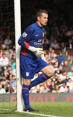 LONDON, ENGLAND - AUGUST 13:  Shay Given of Aston Villa looks on during the Barclays Premier League match between Fulham and Aston Villa at Craven Cottage on August 13, 2011 in London, England.  (Photo by Ian Walton/Getty Images)