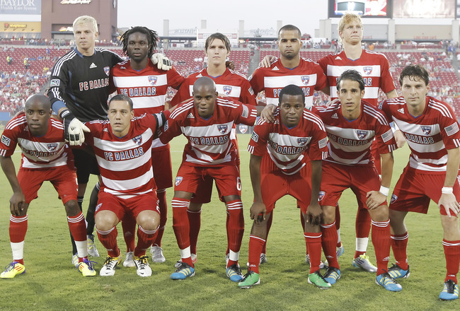 FRISCO, TX - AUGUST 20: The FC Dallas starting lineup before the first half of a soccer game agains the Seattle Sounders FC at Pizza Hut Park on August 20, 2011 in Frisco, Texas. Seattle won 1-0. (Photo by Brandon Wade/Getty Images)