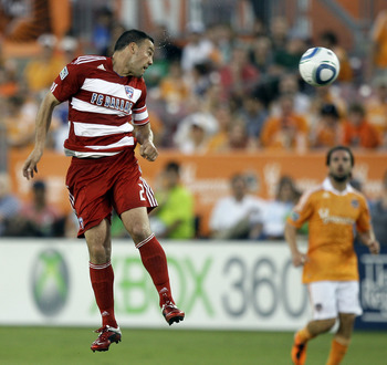 HOUSTON - MAY 28: Daniel Hernandez #2 of FC Dallas clears the ball away from the Dynamo at Robertson Stadium on May 28, 2011 in Houston, Texas. (Photo by Bob Levey/Getty Images)