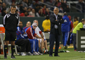 CARSON, CA - JUNE 18:  Head Coach Schellas Hyndman of FC Dallas looks on from the sideline in the second half during their MLS match against Chivas USA at The Home Depot Center on June 18, 2011 in Carson, California. Dallas defeated Chivas USA 2-1.  (Phot