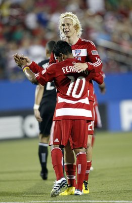FRISCO, TX - JUNE 5: Brek Shea #20 of FC Dallas celebrates his goal  with teammate David Ferreira #10 against the San Jose Earthquake at Pizza Hut Park on June 5, 2010 in Frisco, Texas. FC Dallas won 2-0. (Photo by Layne Murdoch/Getty Images)