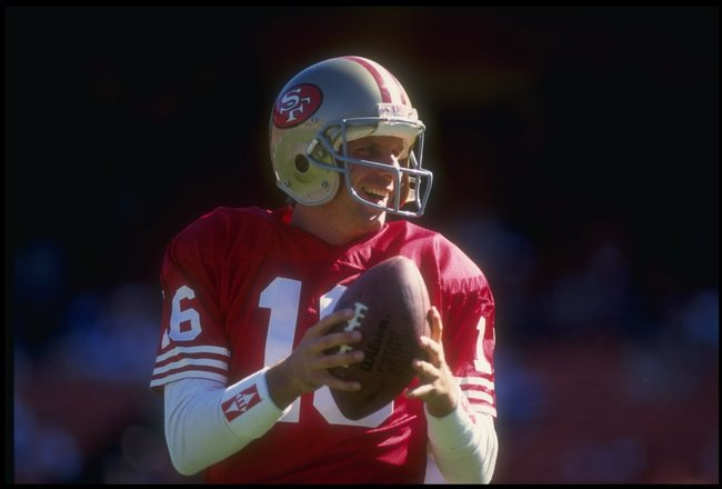 21 Oct 1990:  Quarterback Joe Montana of the San Francisco 49ers practices before game against the Cleveland Browns at Candlestick Park in San Francisco, California. The 49ers won the game 20 - 17. Mandatory Credit: Otto Greule Jr.  /Allsport
