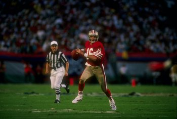 22 Jan 1989:  Quarterback Joe Montana of the San Francisco 49ers looks to pass the ball during Super Bowl XXIII against the Cincinnati Bengals at Joe Robbie Stadium in Miami, Florida.  The 49ers won the game, 20-16. Mandatory Credit: Mike Powell  /Allspor