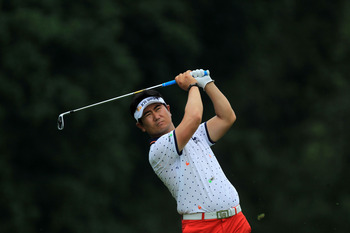 BETHESDA, MD - JUNE 19:  Y.E. Yang of South Korea hits a tee shot during the final round of the 111th U.S. Open at Congressional Country Club on June 19, 2011 in Bethesda, Maryland.  (Photo by David Cannon/Getty Images)