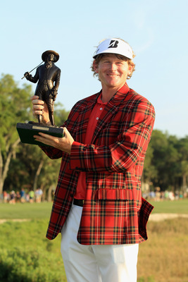 HILTON HEAD ISLAND, SC - APRIL 24:  Brandt Snedeker poses with the trophy after defeating Luke Donald in a playoff during the final round of The Heritage at Harbour Town Golf Links on April 24, 2011 in Hilton Head Island, South Carolina.  (Photo by Street