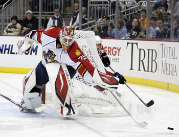 PITTSBURGH, PA - MARCH 27: Tomas Vokoun #29 of the Florida Panthers pushed a puck to the corner against the Pittsburgh Penguins at Consol Energy Center on March 27, 2011 in Pittsburgh, Pennsylvania. (Photo by Justin K. Aller/Getty Images)