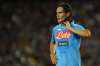 BARCELONA, SPAIN - AUGUST 22:  Edinson Roberto Cavani Gomez of SSC Napoli looks on during the Joan Gamper Trophy match between FC Barcelona and SSC Napoli on August 22, 2011 in Barcelona, Spain.  (Photo by Valerio Pennicino/Getty Images)