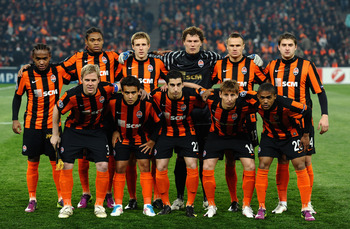 DONETSK, UKRAINE - APRIL 12: The Shakhtar Donetsk team line up before the UEFA Champions League Quarter Final 2nd Leg match between Shakhtar Donetsk and Barcelona at the Donbass Arena on April 12, 2011 in Donetsk, Ukraine.  (Photo by Laurence Griffiths/Ge