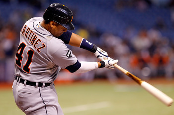 ST. PETERSBURG, FL - AUGUST 23:  Designated hitter Victor Martinez #41 of the Detroit Tigers bats against the Tampa Bay Rays during the game at Tropicana Field on August 23, 2011 in St. Petersburg, Florida.  (Photo by J. Meric/Getty Images)