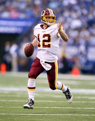 INDIANAPOLIS, IN - AUGUST 19: John Beck #3 of the Washington Redskins looks to pass the ball during the game against Indianapolis Colts at Lucas Oil Stadium on August 19, 2011 in Indianapolis, Indiana.  (Photo by Andy Lyons/Getty Images)