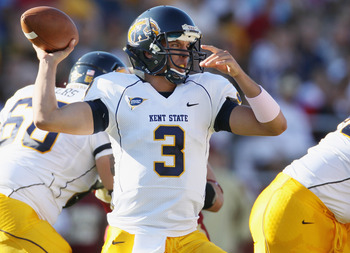 CHESTNUT HILL, MA - SEPTEMBER 11:  Spencer Keith #3 of the Kent State Golden Flashes passes in the first half against the Boston College Eagles on September 11, 2010 at Alumni Stadium in Chestnut Hill, Massachusetts.  (Photo by Elsa/Getty Images)