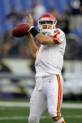 BALTIMORE, MD - AUGUST 19:  Quarterback Matt Cassel #7 of the Kansas City Chiefs warms up before the start of a preseason game against the Baltimore Ravens at M&T Bank Stadium on August 19, 2011 in Baltimore, Maryland. The Ravens won 31-13. (Photo by Rob