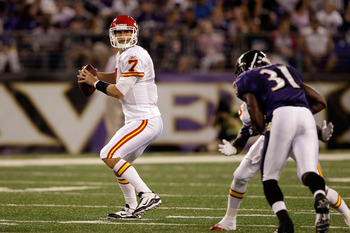BALTIMORE, MD - AUGUST 19:  Quarterback Matt Cassel #7 of the Kansas City Chiefs throws a pass while being pressured by safety Bernard Pollard #31 of the Baltimore Ravens during the first half of a preseason game at M&T Bank Stadium on August 19, 2011 in