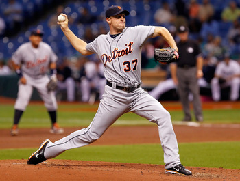 ST PETERSBURG, FL - AUGUST 24:  :  Pitcher Max Scherzer #37 of the Detroit Tigers pitches against the Tampa Bay Rays during the game at Tropicana Field on August 24, 2011 in St. Petersburg, Florida.  (Photo by J. Meric/Getty Images)