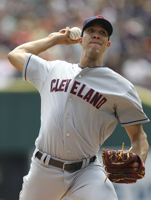 DETROIT, MI - AUGUST 21:  Ubaldo Jimenez #30 of the Cleveland Indians pitches in the first inning during the game against the Detroit Tigers at Comerica Park on August 21, 2011 in Detroit, Michigan.  (Photo by Leon Halip/Getty Images)