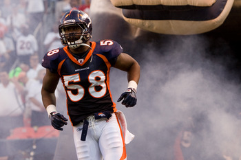 DENVER, CO - AUGUST 20:  Linebacker Von Miller #58 of the Denver Broncos is introduced before a game against the Buffalo Bills at Sports Authority Field at Mile High on August 20, 2011 in Denver, Colorado. (Photo by Justin Edmonds/Getty Images)