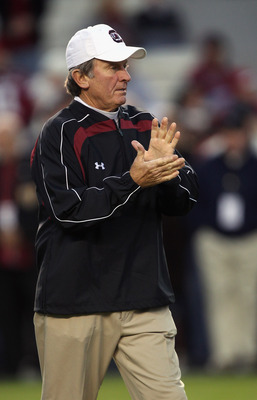 COLUMBIA, SC - NOVEMBER 06:  Head coach Steve Spurrier of the South Carolina Gamecocks cheers on his team during warm ups before the start of their game against the Arkansas Razorbacks at Williams-Brice Stadium on November 6, 2010 in Columbia, South Carol