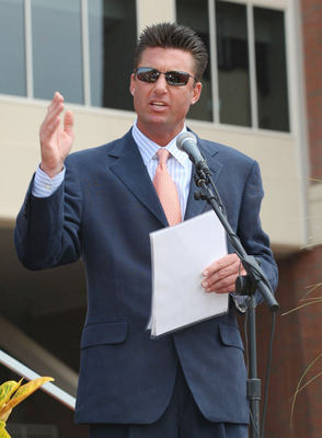 STILLWATER, OK - SEPTEMBER 5:  Head coach Mike Gundy of the Oklahoma State Cowboys speaks at the dedication of the Boone Pickens Stadium before his team takes on the Georgia Bulldogs on September 5, 2009 in Stillwater, Oklahoma. (Photo by Christian Peters