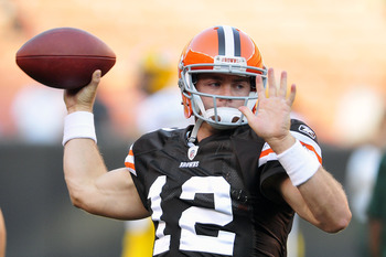CLEVELAND, OH - AUGUST 13: Starting quarterback Colt McCoy #12 of the Cleveland Browns warms up prior to the game between the Cleveland Browns and the Green Bay Packers at Cleveland Browns Stadium on August 13, 2011 in Cleveland, Ohio. (Photo by Jason Mil
