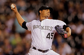 DENVER, CO - AUGUST 22:  Starting pitcher Jhoulys Chacin #45 of the Colorado Rockies works the seventh inning against the Houston Astros at Coors Field on August 22, 2011 in Denver, Colorado.   (Photo by Justin Edmonds/Getty Images)