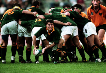 Joost van der Westhuizen clears the ball in South Africa's opening game in 1995 against Australia.