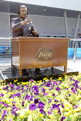 LOS ANGELES, CA - JUNE 03:  A statue of legendary Lakers' broadcaster Chick Hearn is shown outside of the Staples Center before the game between the Boston Celtics and the Los Angeles Lakers in Game One of the 2010 NBA Finals on June 3, 2010 in Los Angele