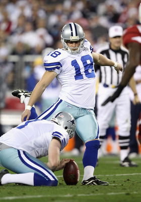 GLENDALE, AZ - DECEMBER 25:  Kicker David Buehler #18 of the Dallas Cowboys kicks a field goal during the NFL game against the Arizona Cardinals at the University of Phoenix Stadium on December 25, 2010 in Glendale, Arizona.  The Cardinals defeated the Co