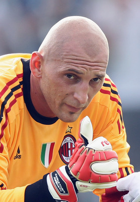 SOLBIATE ARNO, ITALY - JULY 12:  AC Milan goalkeeper Christian Abbiati in action during a training session at Milanello on July 12, 2011 in Solbiate Arno, Italy.  (Photo by Vittorio Zunino Celotto/Getty Images)
