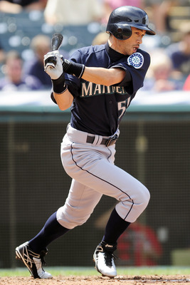 CLEVELAND, OH - AUGUST 23: Ichiro Suzuki #51 of the Seattle Mariners hits an RBI single to right field during the fifth inning against the Cleveland Indians at Progressive Field on August 23, 2011 in Cleveland, Ohio. (Photo by Jason Miller/Getty Images)