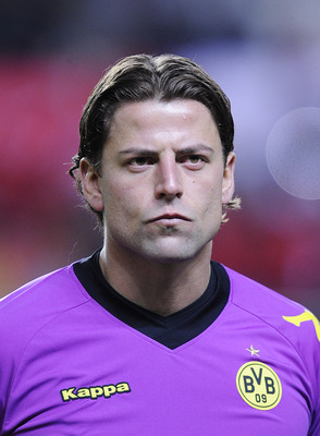 SEVILLE, SPAIN - DECEMBER 15: Roman Weidenfeller of Borussia Dortmund looks on prior the UEFA Europa League group J match between Sevilla and Borussia Dortmund at Estadio Ramon Sanchez Pizjuan on December 15, 2010 in Seville, Spain. The match ended 2-2.
