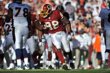 LANDOVER, MD - NOVEMBER 15:  Brian Orakpo #98 of the Washington Redskins defends against the Denver Broncos at FedExField on November 15, 2009 in Landover, Maryland. The Redskins won 27-17. (Photo by Larry French/Getty Images)