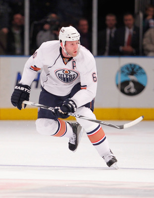 NEW YORK - NOVEMBER 14:  Ryan Whitney #6 of the Edmonton Oilers skates up ice during a hockey game  against the New York Rangers at Madison Square Garden on November 14, 2010 in New York City.  (Photo by Paul Bereswill/Getty Images)