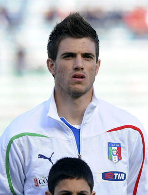 PADOVA, ITALY - APRIL 13:  Davide Santon of Italy U21poses  line up for a team photo during the international friendly match between Italy U21 and Russia U21 at Stadio Euganeo on April 13, 2011 in Padova, Italy.  (Photo by Dino Panato/Getty Images)