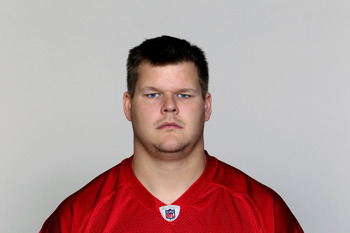FLOWERY BRANCH, GA - CIRCA 2010: In this handout image provided by the NFL,  Rob Bruggeman of the Atlanta Falcons poses for his NFL headshot circa 2010 at the Falcons Football Facility in Flowery Branch, Georgia.  (Photo by NFL via Getty Images)