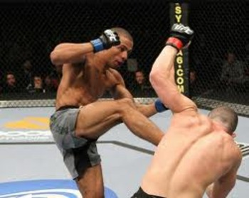 Edson Barboza exhibiting his creative offense