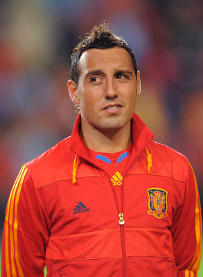 SALAMANCA, SPAIN - OCTOBER 08: Santiago Cazorla of Spain listens to his country's national anthem before the the EURO 2012 Qualifying Group I match between Spain and Lithuania at the Helmantico stadium on October 8, 2010 in Salamanca, Spain.  (Photo by De