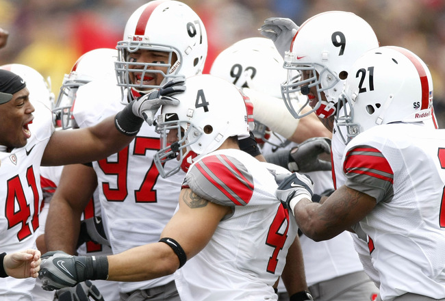 ANN ARBOR, MI - NOVEMBER 21:  Kurt Coleman of the Ohio State Buckeyes celebrates a second quarter interception with teammates while playing the Michigan Wolverines on November 21, 2009 at Michigan Stadium in Ann Arbor, Michigan.  (Photo by Gregory Shamus/