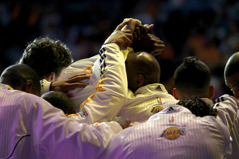 LOS ANGELES, CA - APRIL 17:   The Los Angeles Lakers huddle before playing the New Orleans Hornets in Game One of the Western Conference Quarterfinals in the 2011 NBA Playoffs on April 17, 2011 at Staples Center in Los Angeles, California.  The Hornets wo