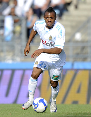 BAYONNE, FRANCE - JULY 23: J. Ayew Jordan of Olympique Marseille in action during a pre-season friendly match between Olympique Marseille and Udinese on July 23, 2011 in Bayonne, France.  (Photo by Ander Gillenea/Getty Images)