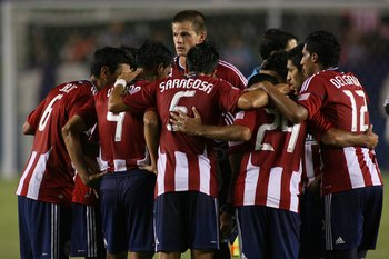 CARSON, CA - AUGUST 29:  Justin Braun #17 of Chivas USA huddles with teammates at halftime of the MLS match against D.C. United on August 29, 2010 at the Home Depot Center in Carson, California. Chivas USA defeated D.C. United 1-0.  (Photo by Jeff Golden/