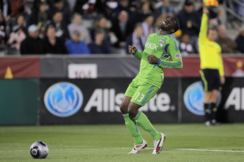 COMMERCE CITY, CO - APRIL 22:  O'Brian White #13 of the Seattle Sounders FC reacts after being called offsides against the Colorado Rapids at Dick's Sporting Goods Park on April 22, 2011 in Commerce City, Colorado.  (Photo by Doug Pensinger/Getty Images)