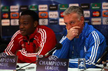 MANCHESTER, ENGLAND - MARCH 14:  Didier Deschamps the coach of Marseille and Steve Mandanda face the media during a press conference held at at Old Trafford on March 14, 2011 in Manchester, England.  (Photo by Alex Livesey/Getty Images)