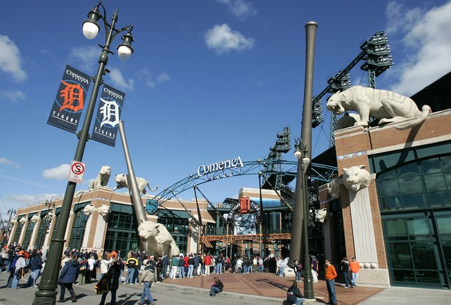DETROIT - OCTOBER 14:  Fans line up outside Comerica Park waiting for the gates to open prior to the start of Game Four of the American League Championship Series between the Detroit Tigers and the Oakland Athletics October 14, 2006 at Comerica Park in De