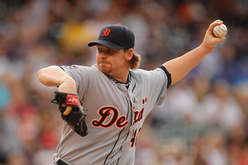 DENVER, CO - JUNE 18:  Starting pitcher Phil Coke #40 of the Detroit Tigers works the first inning against the Colorado Rockies at Coors Field on June 18, 2011 in Denver, Colorado.  (Photo by Justin Edmonds/Getty Images)