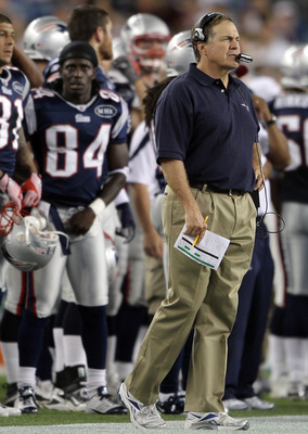FOXBORO, MA - AUGUST 11:  Head coach Bill Belichick directs his team in the second quarter against the Jacksonville Jaguars on August 11, 2011 at Gillette Stadium in Foxboro, Massachusetts.  (Photo by Elsa/Getty Images)