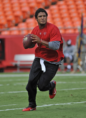 KANSAS CITY, MO - AUGUST 12:  Quarterback Josh Freeman #5 of the Tampa Bay Buccaneers works out before a game against the Kansas City Chiefs on August 12, 2011 at Arrowhead Stadium in Kansas City, Missouri.  (Photo by Peter Aiken/Getty Images)