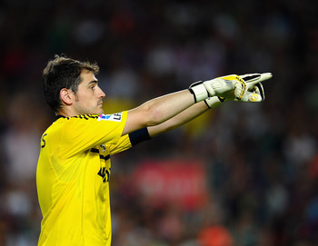 BARCELONA, SPAIN - AUGUST 17: Iker Casillas of Real Madrid in action during the Super Cup second leg match between Barcelona and Real Madrid at Nou Camp on August 17, 2011 in Barcelona, Spain.  (Photo by Laurence Griffiths/Getty Images)