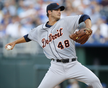KANSAS CITY, MO - AUGUST 05: Starting pitcher Rick Porcello #48 of the Detroit Tigers throws in the first inning during a game against the Kansas City Royals at Kauffman Stadium on August 5, 2011 in Kansas City, Missouri.  (Photo by Ed Zurga/Getty Images)