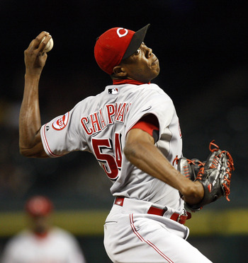 HOUSTON - AUGUST 02:  Pitcher Aroldis Chapman #54 of the Cincinnati Reds  throws in the ninth inning against the Houston Astros at Minute Maid Park on August 2, 2011 in Houston, Texas. Cincinnati won 5-1.  (Photo by Bob Levey/Getty Images)